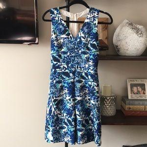 EXPRESS floral blue cocktail dress